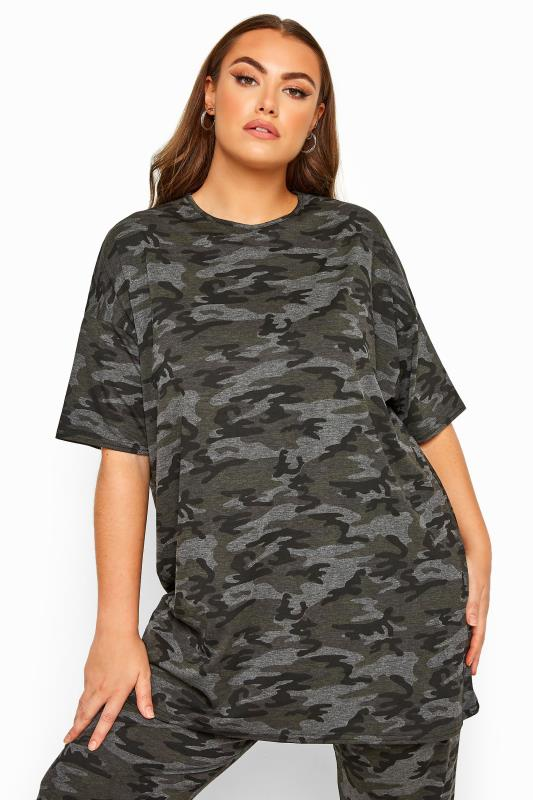 Plus Size T-Shirts LIMITED COLLECTION Grey Camo Oversized T-Shirt