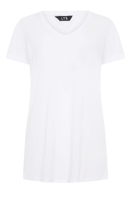 LTS White Linen Blend V-Neck T-Shirt_F.jpg