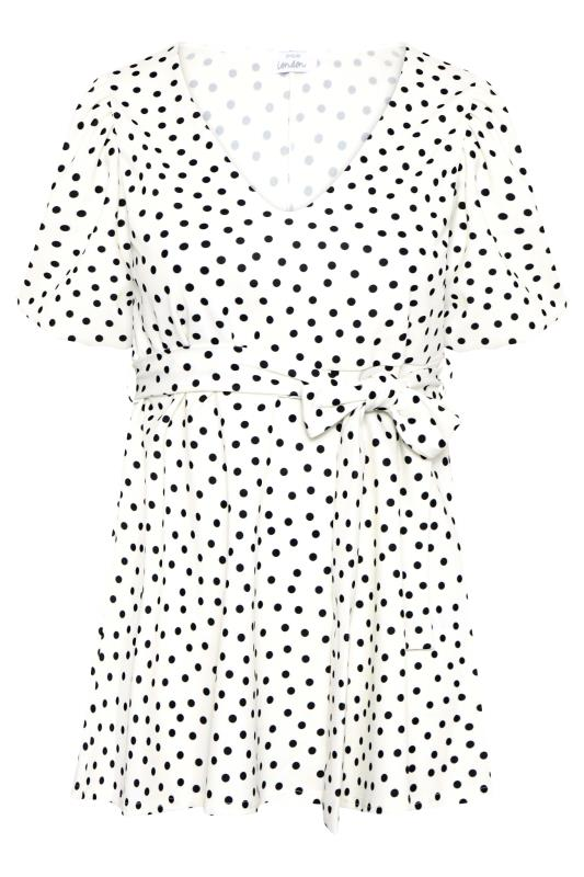 YOURS LONDON White Polka Dot Puff Sleeve Peplum Top_F.jpg