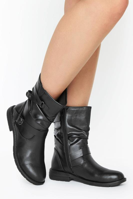 Yours Black Vegan Faux Leather Buckle Detail Boots In Wide Fit