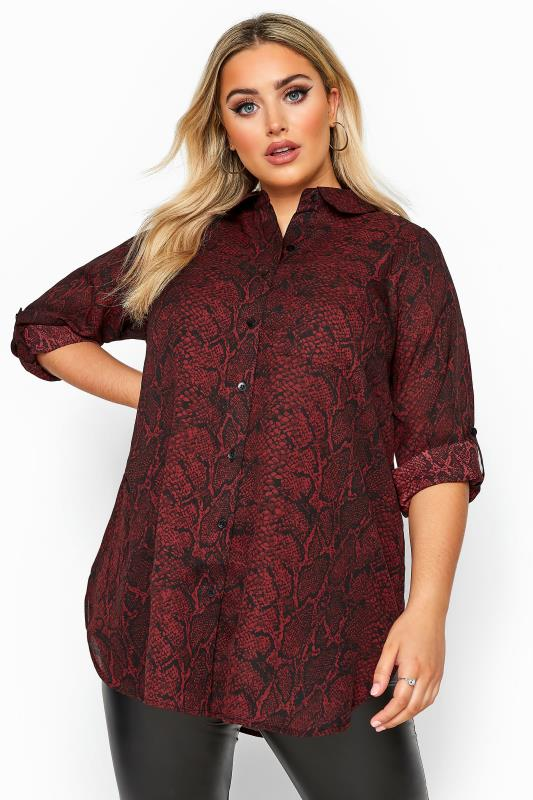 Blouses & Shirts Grande Taille Wine Red Snake Print Boyfriend Shirt