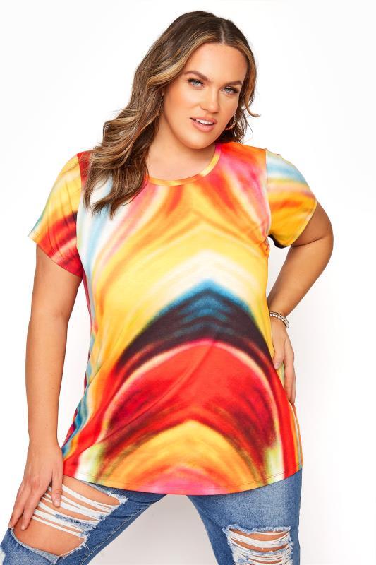 Plus Size  Multi Colour Tie Dye Print Top