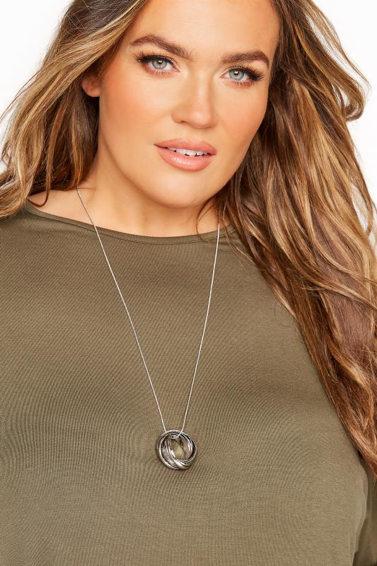 Plus Size  Silver Circle Cluster Necklace