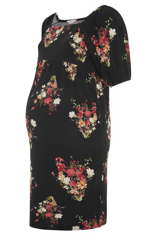 BUMP IT UP MATERNITY Black Floral Milkmaid Midi Dress_F.jpg