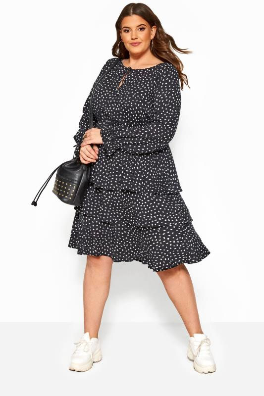Plus Size Black Dresses Black Dalmatian Print Tiered Dress