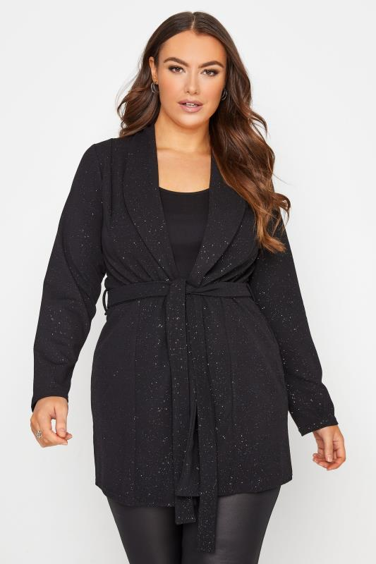 Plus Size  YOURS LONDON Black Glitter Belted Blazer