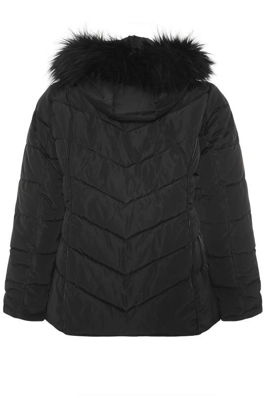 Black PU Faux Fur Trim Panelled Puffer Jacket_BK.jpg