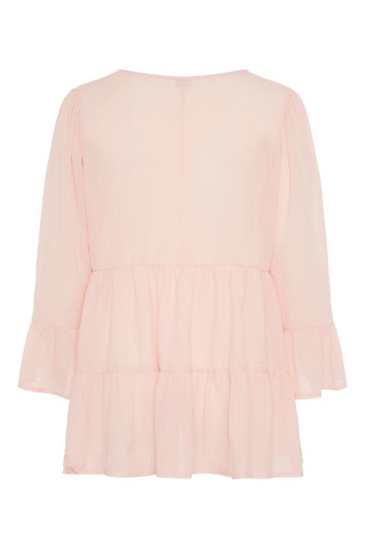 YOURS LONDON Natural Pink Ruffle Sleeve Tiered Smock Top_BK.jpg