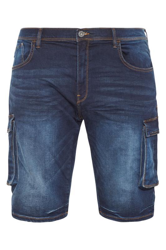 Plus Size  BLEND Indigo Blue Blizzard Denim Cargo Shorts