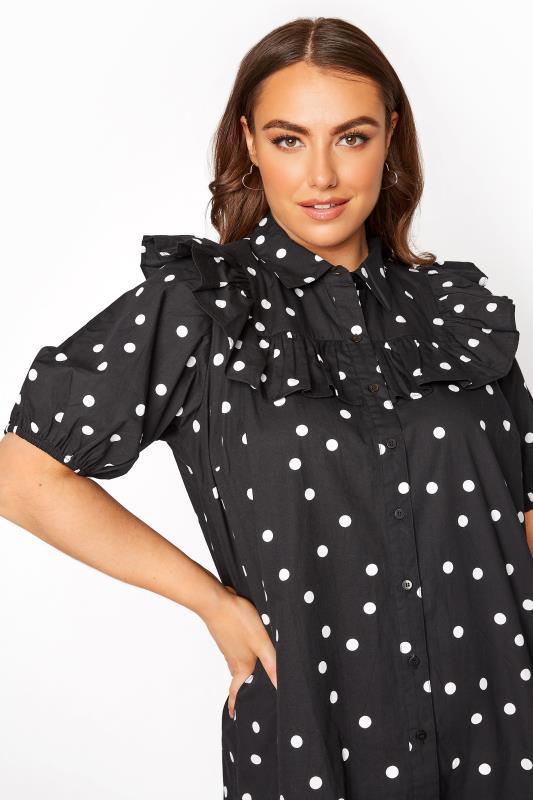 Black Frill Polka Dot Cotton Shirt Dress_D.jpg