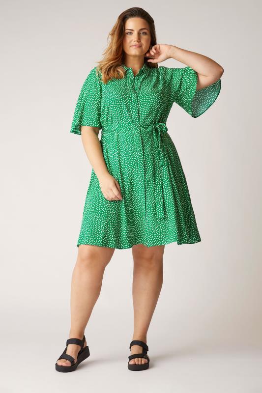 THE LIMITED EDIT Green Polka Dot Shirt Mini Dress_B.jpg