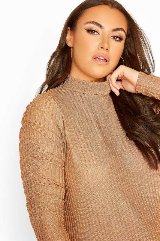 YOURS LONDON Gold Metallic Ruched Sleeve Ribbed Top
