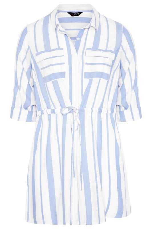 White and Blue Stripe Longline Peplum Shirt_F.jpg