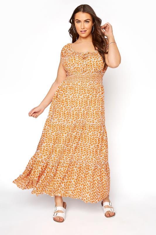 Plus Size  Orange Floral Bardot Tiered Maxi Dress