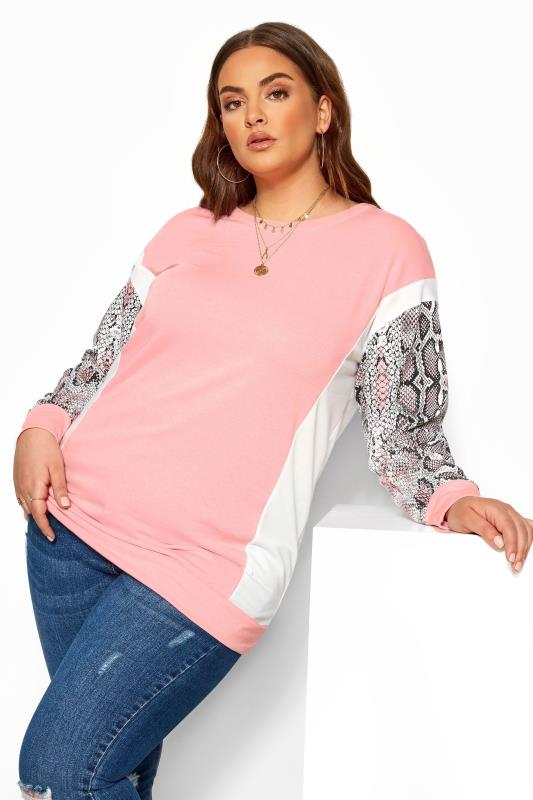 Plus Size Casual / Every Day Pink Snake Print Trim Sweatshirt
