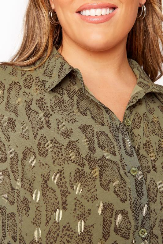 LIMITED COLLECTION Khaki Foil Snake Tiered Shirt Dress_E.jpg
