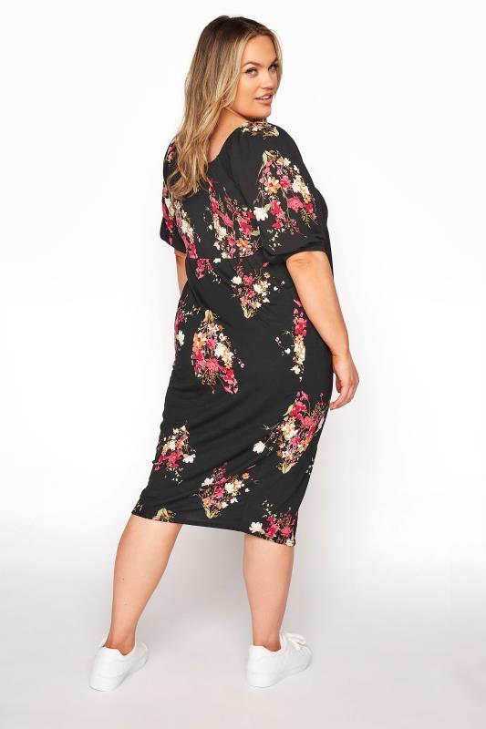 BUMP IT UP MATERNITY Black Floral Milkmaid Midi Dress_C.jpg