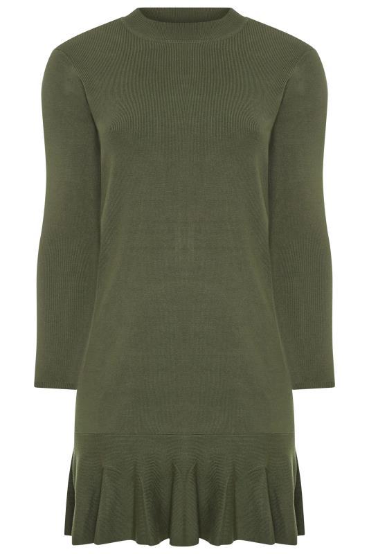 Y.A.S Green Knitted Frill Hem Dress