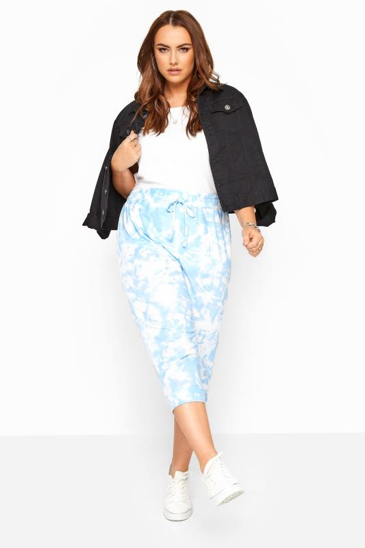 Plus Size Joggers Blue Tie Dye Cropped Joggers