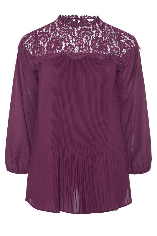 YOURS LONDON Purple Lace Plisse Chiffon Blouse_F.jpg