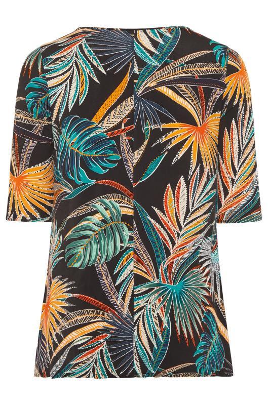 Black Palm Print Jersey Swing Top