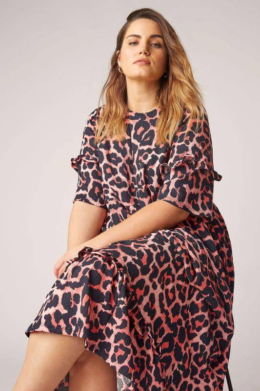 THE LIMITED EDIT Pink Leopard Print Smock Midaxi Dress_D.jpg