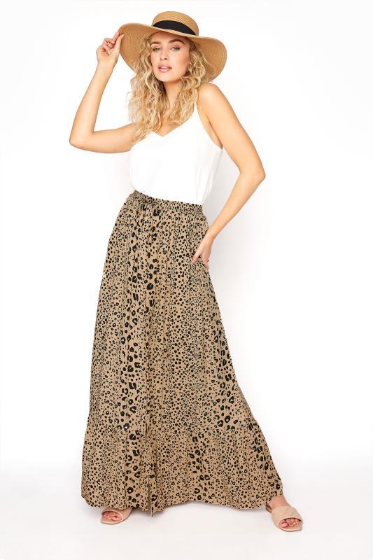 LTS Beige Animal Print Maxi Skirt
