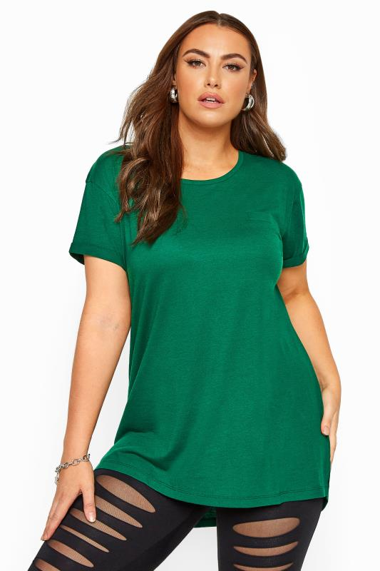 Green Mock Pocket Dipped Hem T-Shirt