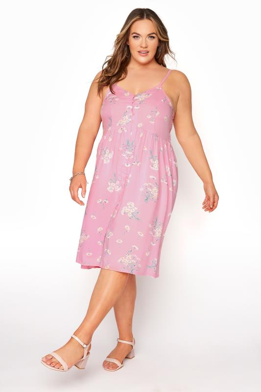 Plus Size  Pink Floral Button Front Cami Dress