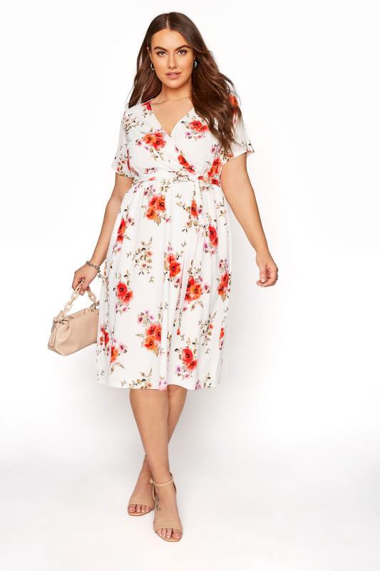 YOURS LONDON Orange Floral Short Sleeve Wrap Dress_B.jpg