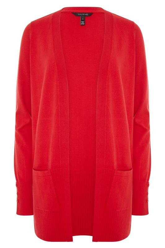 Red Cotton Ribbed Trim Cardigan_F.jpg