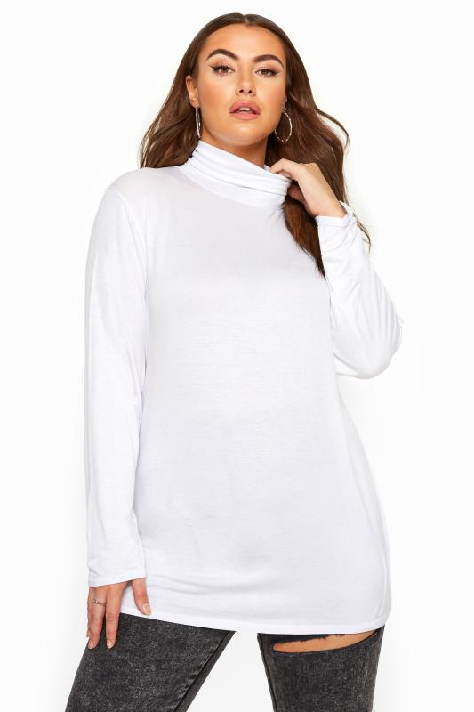 Plus Size Jersey Tops Cream Roll Neck Jersey Top