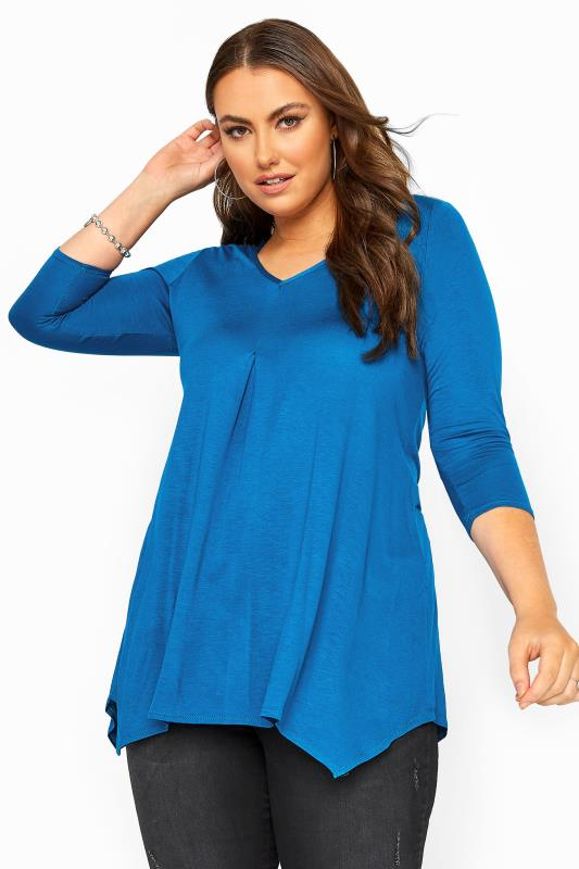 Plus Size Casual / Every Day Cobalt Blue Pleated Hanky Hem Top