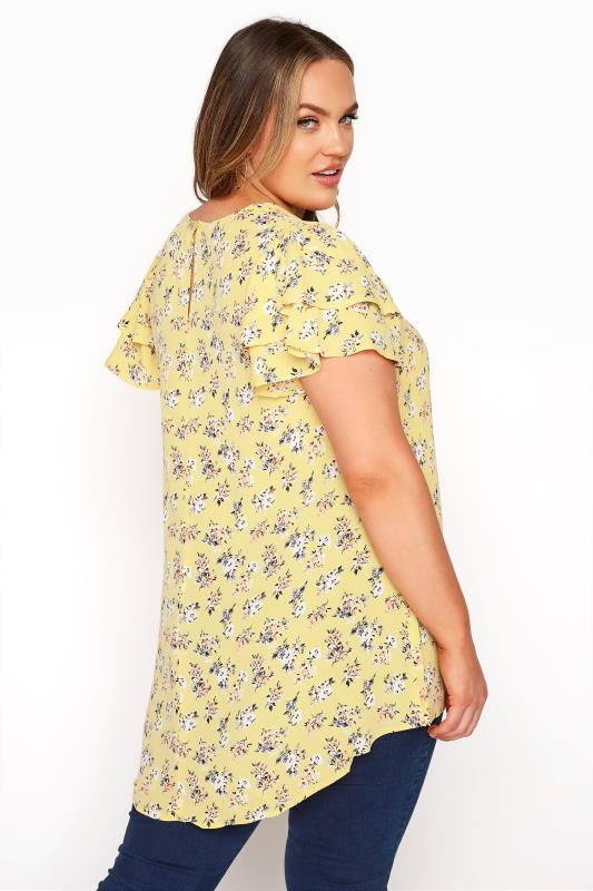 Yellow Floral Print Dipped Hem Blouse_C.jpg