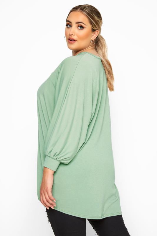 Plus Size Sweatshirts LIMITED COLLECTION Sage Green Oversized Batwing Sleeve Sweatshirt