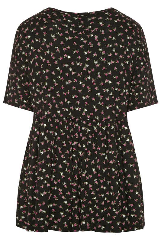 LIMITED COLLECTION Black Floral Drop Shoulder Peplum Top