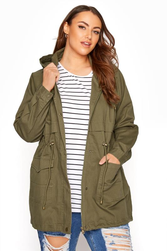 Plus Size  Khaki Washed Cotton Parka