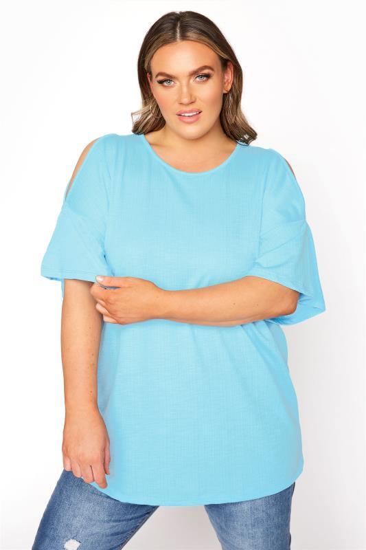 Plus Size  Blue Cold Shoulder T-Shirt