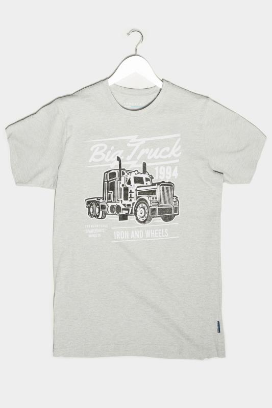 BadRhino Grey Marl Truck Graphic Print T-Shirt