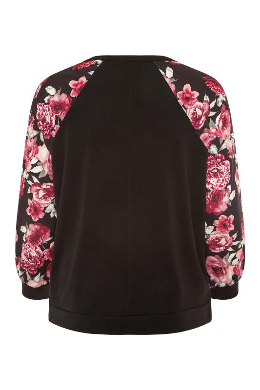 LIMITED COLLECTION Black Floral Raglan Sleeve Sweatshirt_BK.jpg