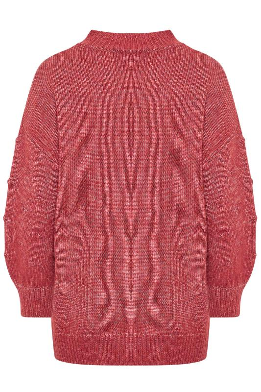 Pink Balloon Sleeve Chunky Knitted Jumper