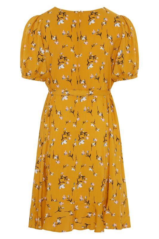 YOURS LONDON Mustard Yellow Floral Ruffle Hem Tea Dress_BK.jpg