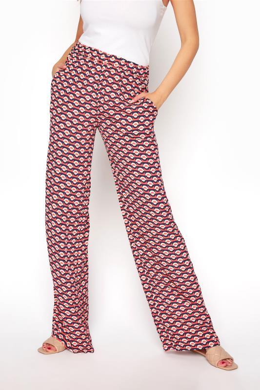 Red Geometric Print Wide Leg Trousers