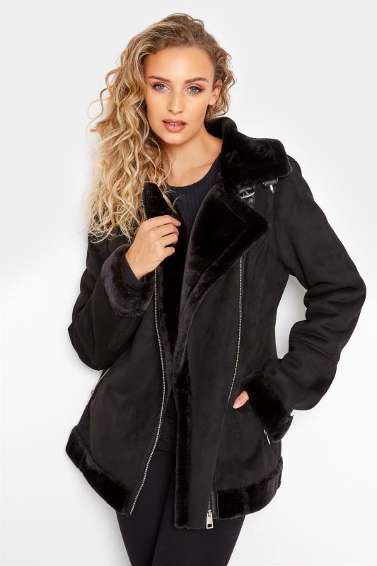 Tall  LTS Black Faux Fur Trim Aviator Jacket