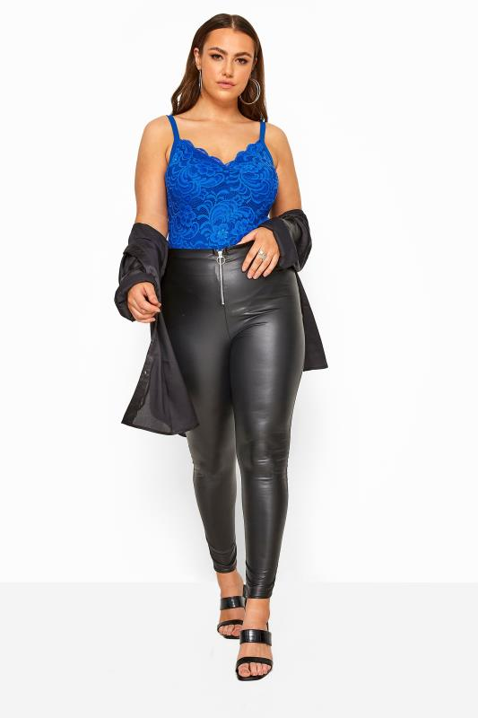 Plus Size Bodysuits LIMITED COLLECTION Cobalt Blue Scalloped Lace Bodysuit