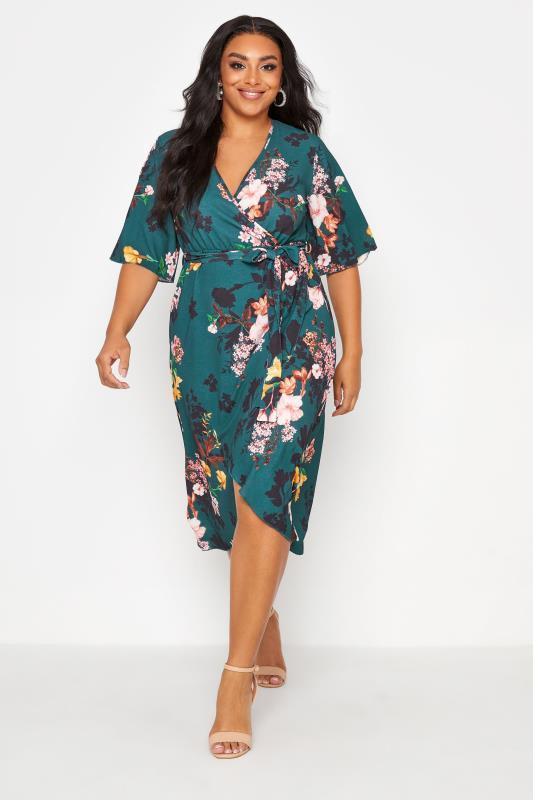 Großen Größen  YOURS LONDON Green Floral Print Wrap Dress