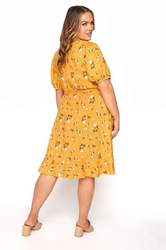 YOURS LONDON Mustard Yellow Floral Ruffle Hem Tea Dress_C.jpg