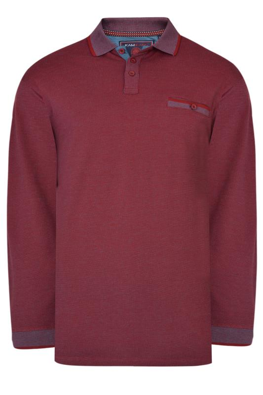 KAM Red Dobby Weave Long Sleeve Polo Shirt