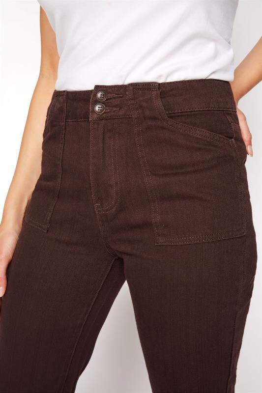 Brown Cotton Twill Kick Flare Cropped Trouser_D.jpg