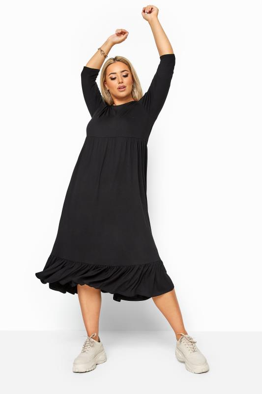 Plus Size Sleeved Dresses LIMITED COLLECTION Black Midi Smock Dress